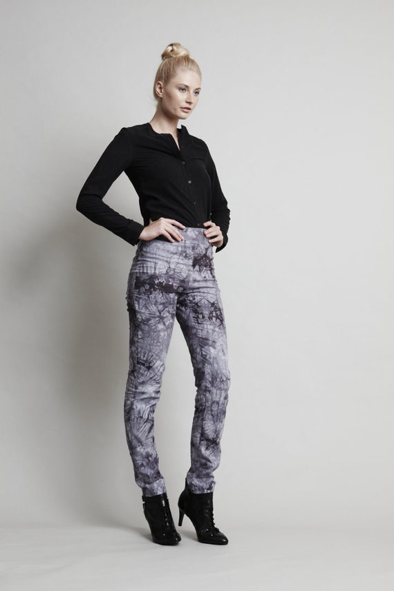 SALE - 25 OFF - Paint Pants - Cigarette skinny leg pant in 100% cotton. Grey mottle pattern