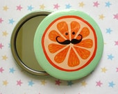 ORANGE with MUSTACHE Pocket Mirror - velvet pouch included