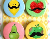FRUIT with MUSTACHES Magnets for office, kitchen or fridge