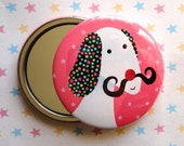 DOG with Mustache Pocket Mirror - Velvet pouch included