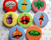 Vegetables with Mustaches Magnets - mushroom, corn, broccoli, eggplant, pepper, carrot, onion and peapod
