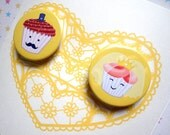 WEDDING, Engagement, Invitation Card Bride and Groom CUPCAKE Yellow
