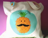 Cotton Tote Bag - Pineapple with Mustache
