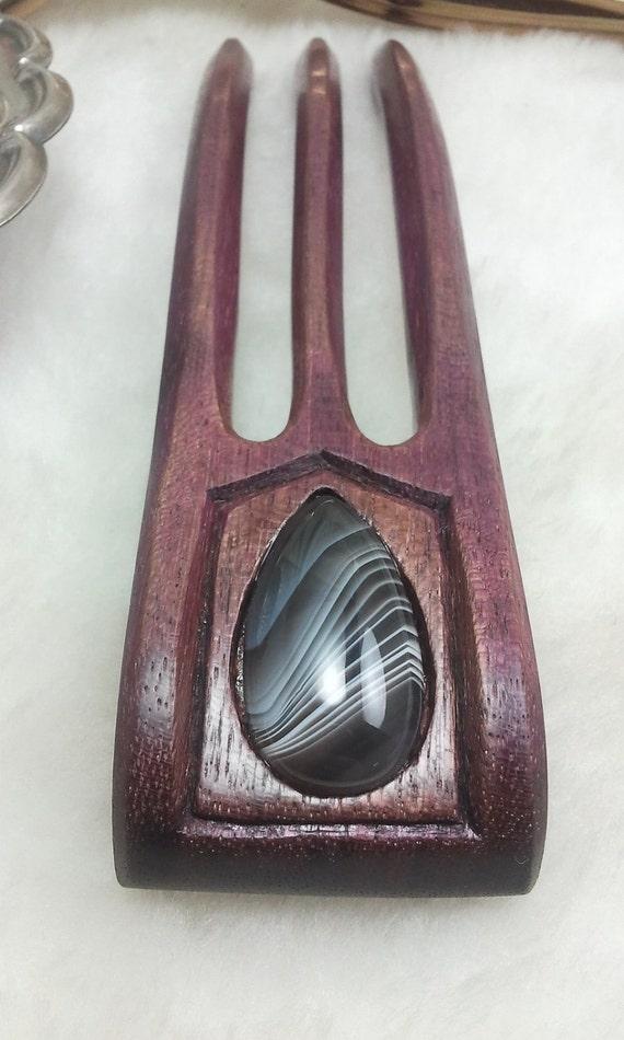 Purple Heart Hair Fork Featuring Botswana Agate