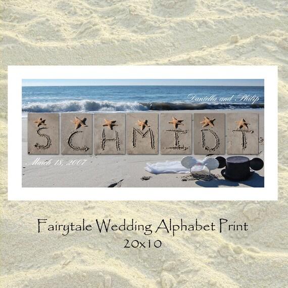 Fairytale Wedding Alphabet Personalized Name Print 10x20
