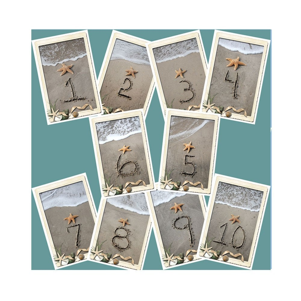 Items similar to beach theme wedding sand and shore table for Table numbers