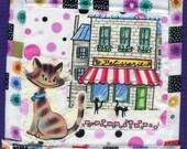 Parisian Kitten Fabric Wallhanging Quilt