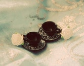 Black and White tea party earrings