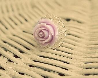 Whimsy lovely lavender flower ring