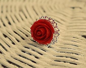 Whimsy red devil flower ring