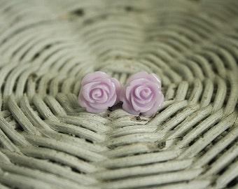 Lavender field rose earrings