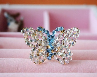Crystals butterfly ring
