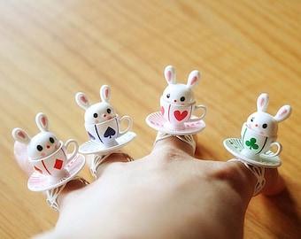 Alice in Wonderland Rabbit teacup ring