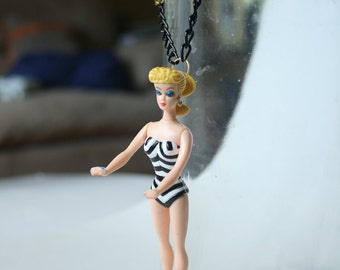 Barbie with Black and White stripes classic swimsuit vintage doll necklace