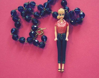 Barbie with Jeans Vintage doll necklace