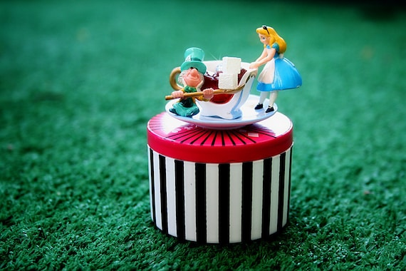 Alice in Wonderland with Mad Hatter having a tea party Trinket Box