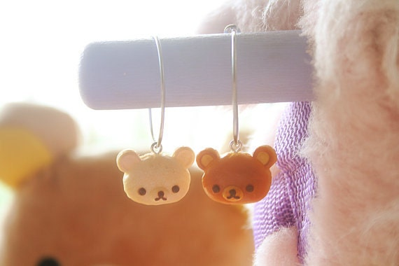 Rilakkuma Bear Silver Hoop Earrings