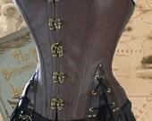 25 inch waist Steampunk Pirate Corset Brass DarkTan (BVBSC33)