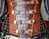 "27in Leather Steampunk ""Explorer"" underbust buckle Corset"