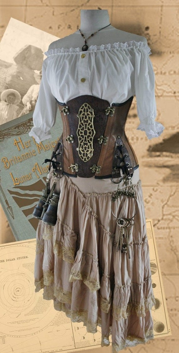 Leather Steampunk underbust Corset Explorer