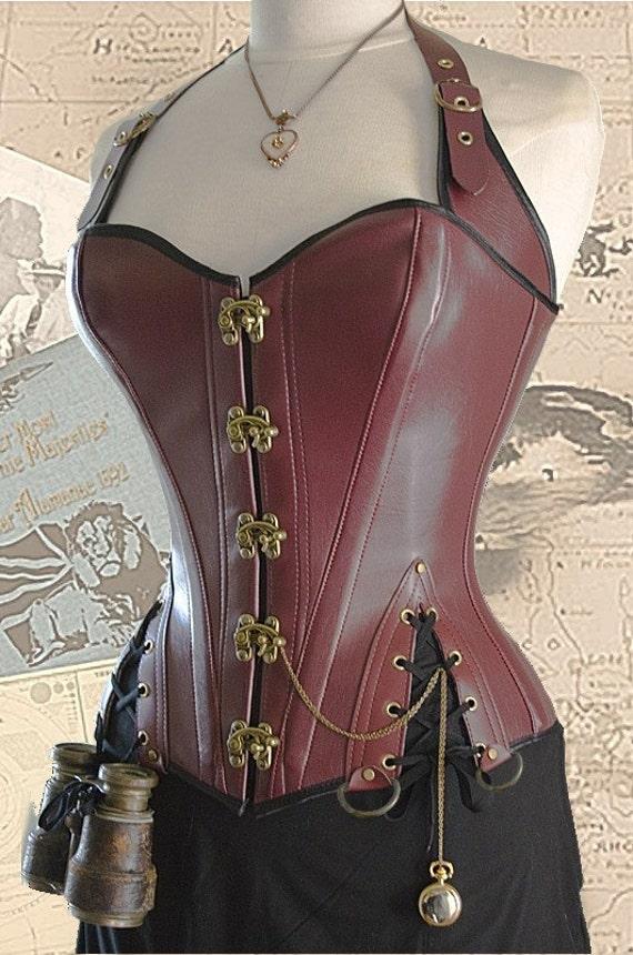 28 inch waist Brass Steampunk Adventurer's Corset oxblood