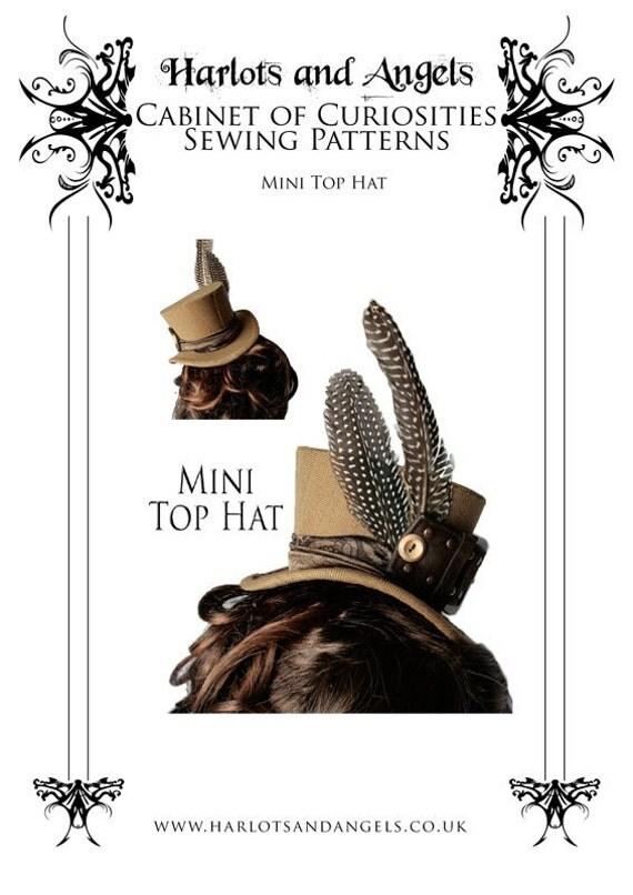 Steampunk Burlesque Buckram Mini Top Hat Millinery Sewing Pattern