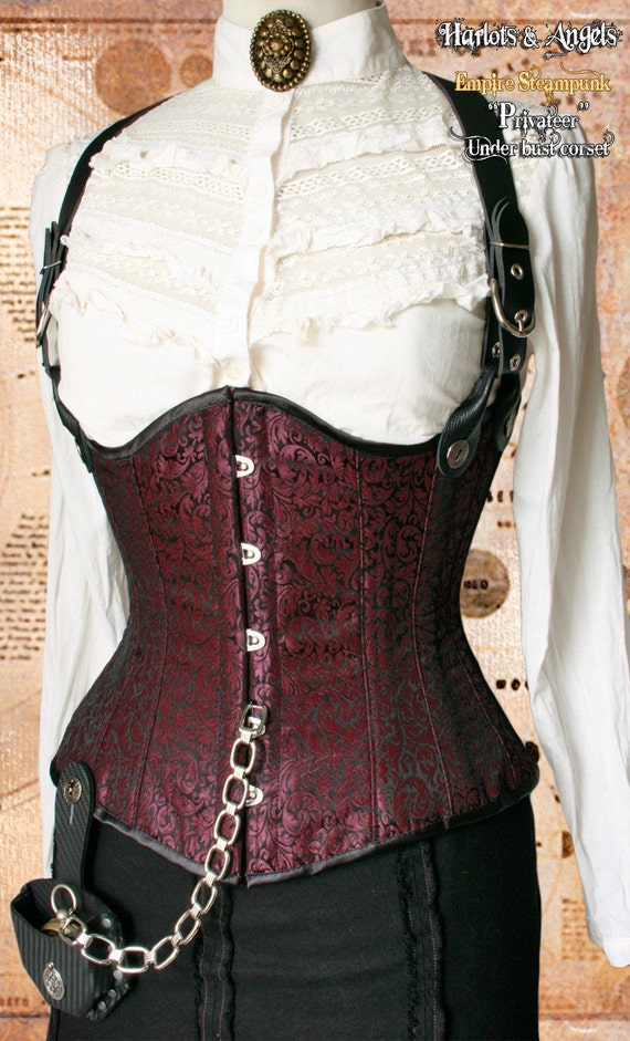 "26"" Steampunk ""Privateer"" Underbust Victorian corset with braces (PRUB01)"