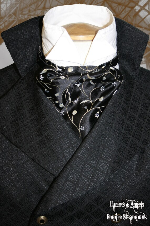 Cravat Gothic Victorian Steampunk black embroidered  pre-tied Cravat. Sherlock
