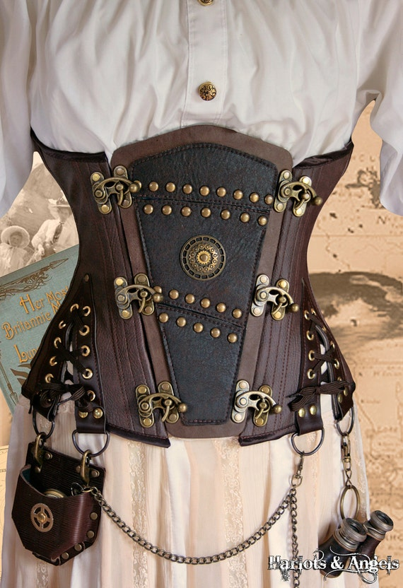 "Unique Steampunk Brass leather applique ""Shadow""  Explorer Corset (any size)"