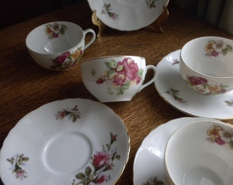Set of 4 Mix and Match Shabby Chic Cups and Saucers