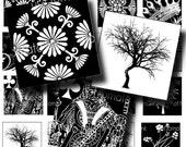 Black and White Vintage Background - square images- 1 x 1 squares-digital collage sheet - jpeg - sheet 051