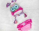 Pink Owl Hat with Matching Ruffled Diaper Cover  Available from Newborn to 6 months, crochet bloomers and hat