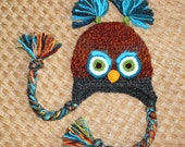 SALE Orange, Gray, Turquoise, and Green Owl Hat, Toddler,  READY to SHIP,  2-4T, Grey, Halloween Owl, Animal, Costume, crochet, baby boy