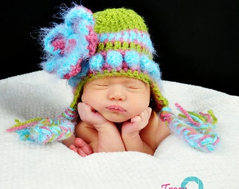 Newborn Baby Girl Hat, Flower Hat, Crochet, PICK a SIZE, Pink Hat, Newborn Photographer Prop, Baby Girl, Pink, Flower Beanie, Green