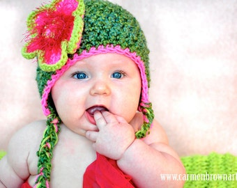 The Lily Pad  Hat PICK A SIZE Large Pink Green Flower Crochet Hat, Photography Prop