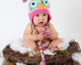 Pink Owl Hat  PICK A SIZE, Great to be used as a newborn photo prop