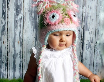 Pastel Pink and Green Owl Hat  PICK A SIZE, Great to be used as a newborn photography prop, Super soft
