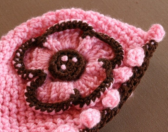 Chocolate Brown and Pink Flower Beanie Hat,  pick a size from Newborn to 4t
