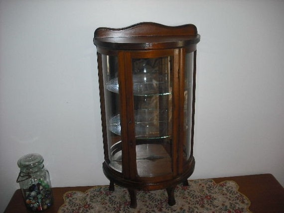vintage curio cabinet half-round wood and glass