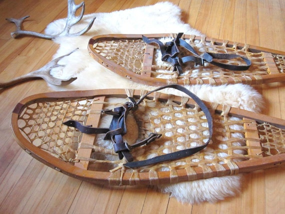 Reserved for Emilie - Vintage Canadian Snowshoes - Awesome Display Piece