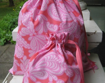 Pretty Simple Drawstring Project Bag Set - Two Pinks Floral