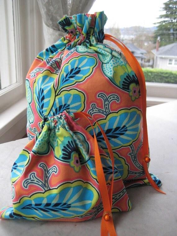 Pretty Simple Drawstring Project Bag Set - Orange, Green & Blue Exotic Floral