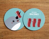 2 Cute Round Narwhal and Bacon Magnets