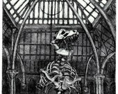 Architecture 1, an etching of a T Rex skeleton