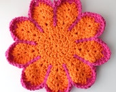 Crocheted Potholder, Crocheted Trivet, Mothers Day Gift, Kitchen Potholder, Pot Holder, Orange and Pink