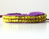 Beaded Friendship Bracelet, Phlox and Transparent Yellow