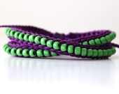 Beaded Friendship Bracelet, Dark Purple and Grass