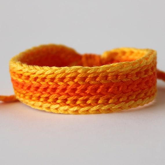Sunshine Crocheted Wide Ombre Bracelet