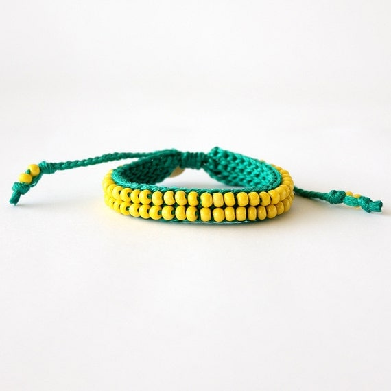Sea Green and Bright Yellow Beaded Bracelet