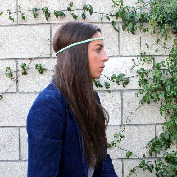 Sea Foam Beaded Hippie Headband
